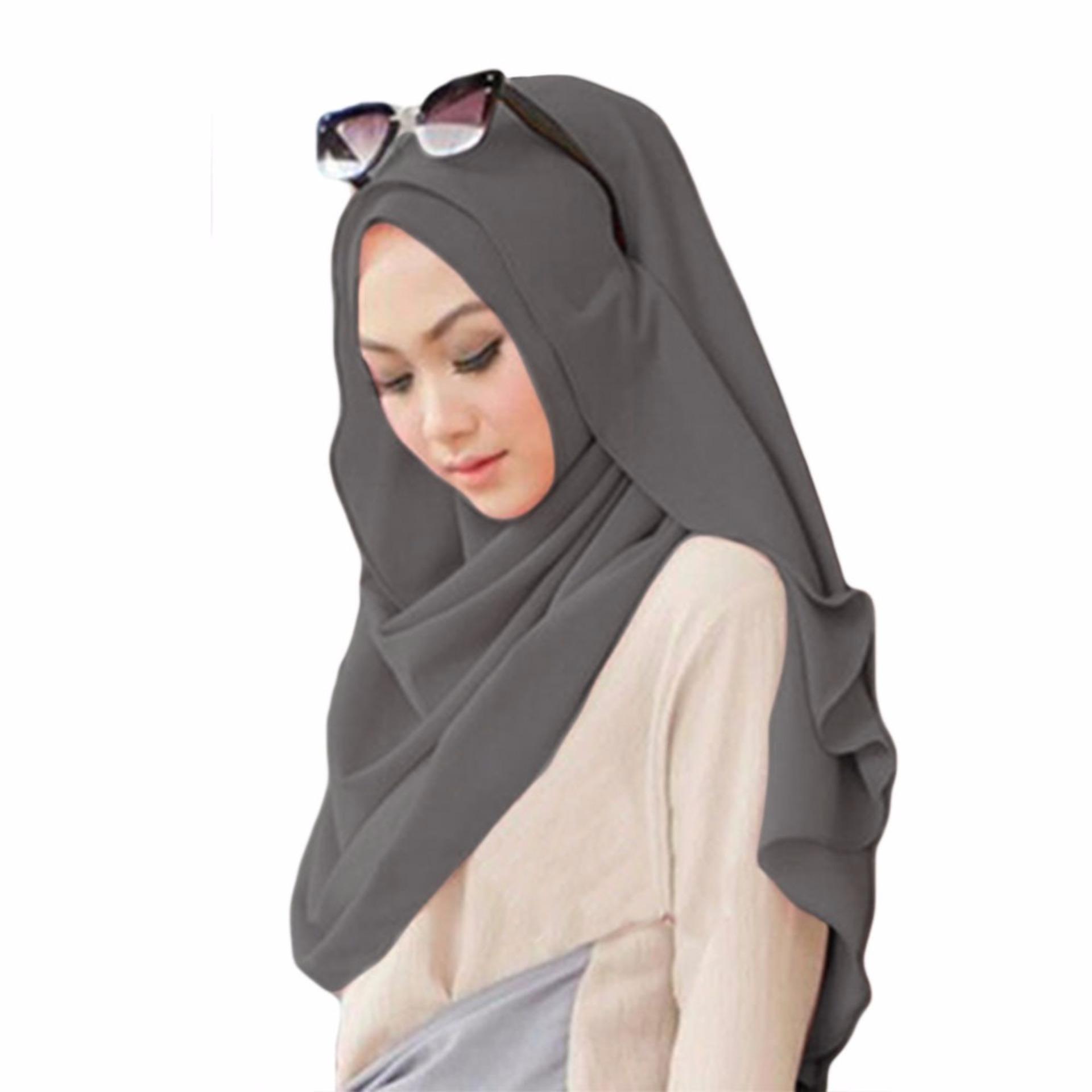 Belle Hijab Kerudung Instan - [Warna Abu Tua]